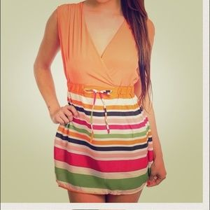 Cross Front Tie Waist Striped Mini Dress